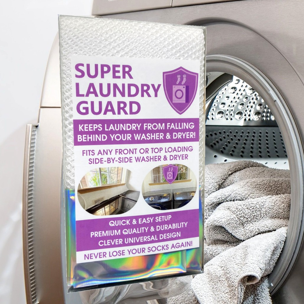 Super Laundry Guard Laundry Washer Dryer Accessory Laundry Room Protect from Falling In Gap Behind Washer Dryer Washer Background